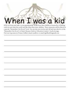 when i was a kid interview sheet